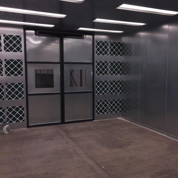 Inside spray booth