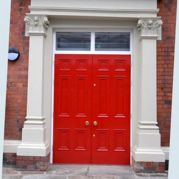 Large red door