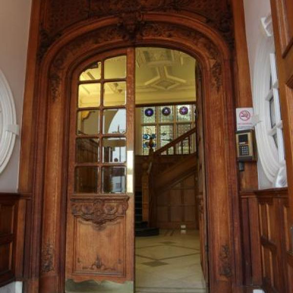 Wooden and glass doors